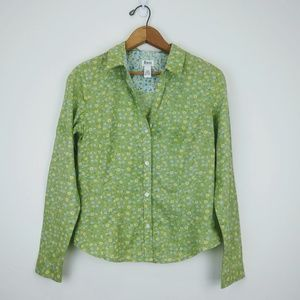 Bass Green Button Down Blouse w Long Sleeves, S